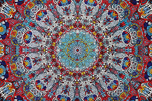 Sunshine Joy 3D Psychedelic Sunburst Tapestry Tablecloth Beach Sheet 60x90 Inches - Glow In The Dark (Glow In The Dark Tablecloths)