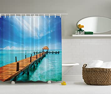 Nautical Shower Curtain Ocean Scenery Decor By Ambesonne Wooden Dock Maldives Tropical Island Seashore Gazebo