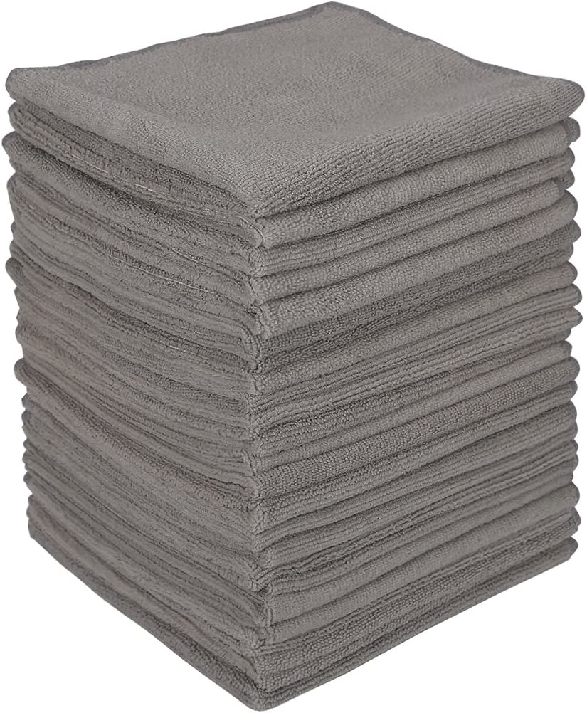 """Wipela (24-Pack)350gsm 15.7"""" x 15.7"""" Microfiber Cleaning Cloth Clean Kitchen Household Automobile and Furniture for dust Removal scrubbing polishing and Drying (Grey Color)"""