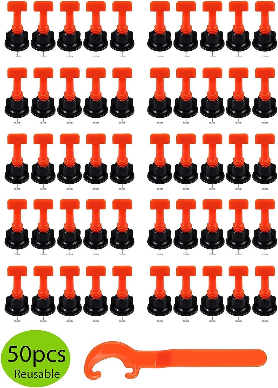 LiNKFOR Syst/ème de Nivellement Tuiles avec 50pcs Niveleur de Tuiles Type T et 1pcs Entretoises Tuiles R/éutilisables Assurer Plan/éit/é pour Entretoise de 2-8mm et /Épaisseur de 5-20mm