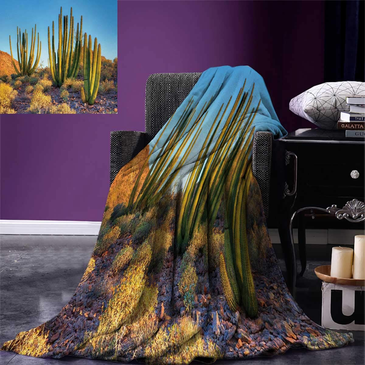 Anniutwo サボテン スローブランケット 写真 ランドスケープ 砂漠の山 海の景色 花 サボテン 植物 プリント 暖かい マイクロファイバー オールシーズン 毛布 ベッド カウチ 50 x 30インチ マルチカラー 90x90(inch) B07GCMZKHS カラー05 90x90(inch)