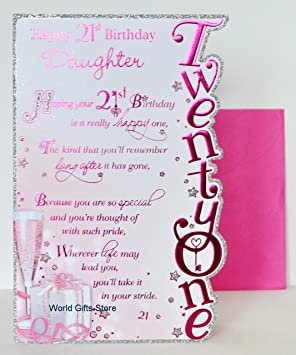 Daughter 21 Birthday Card Amazoncouk Kitchen Home