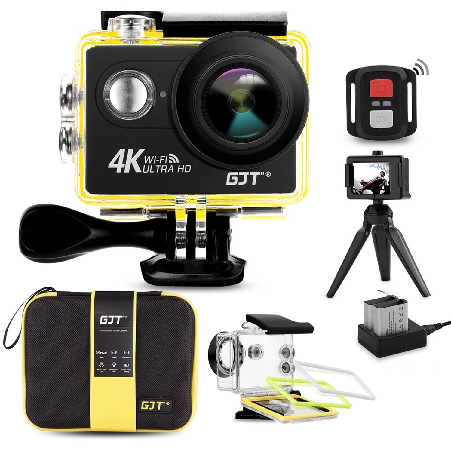 GJT GP1R 4K Sports Action Camera Portable Package,12MP Ultra HD WiFi 30M Waterproof DV Camcorder 2 Inch LCD Screen, 170 Degree Wide Angle Lens,2.4Ghz Remote Control, 2x1350mAh Batteries by GJT