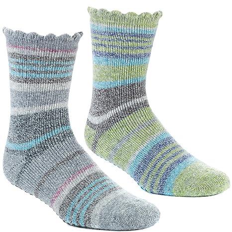 c4f0c082c9d1c Amazon.com: Acorn Women's Toasty Treads Socks - 2 Pack, Green/Grey ...