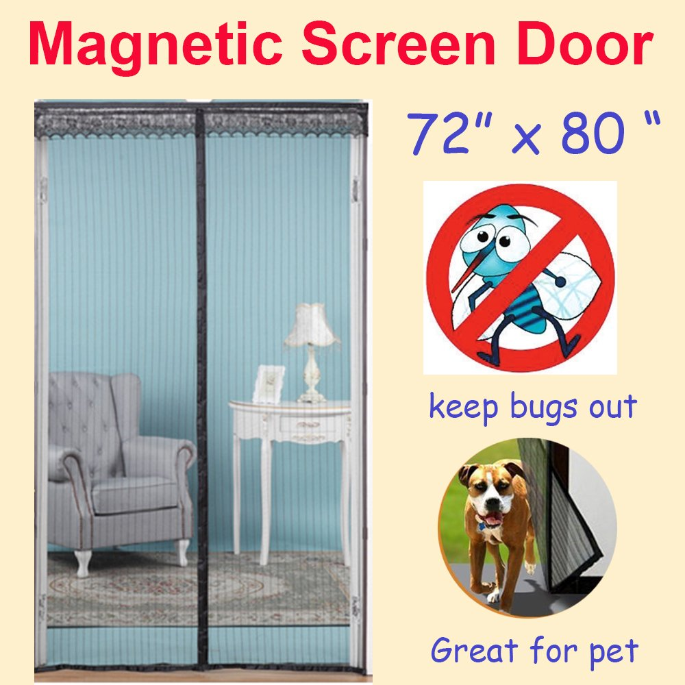 Zyettst 72 w x 80 h magnetic screen door for french for French door magnetic screen