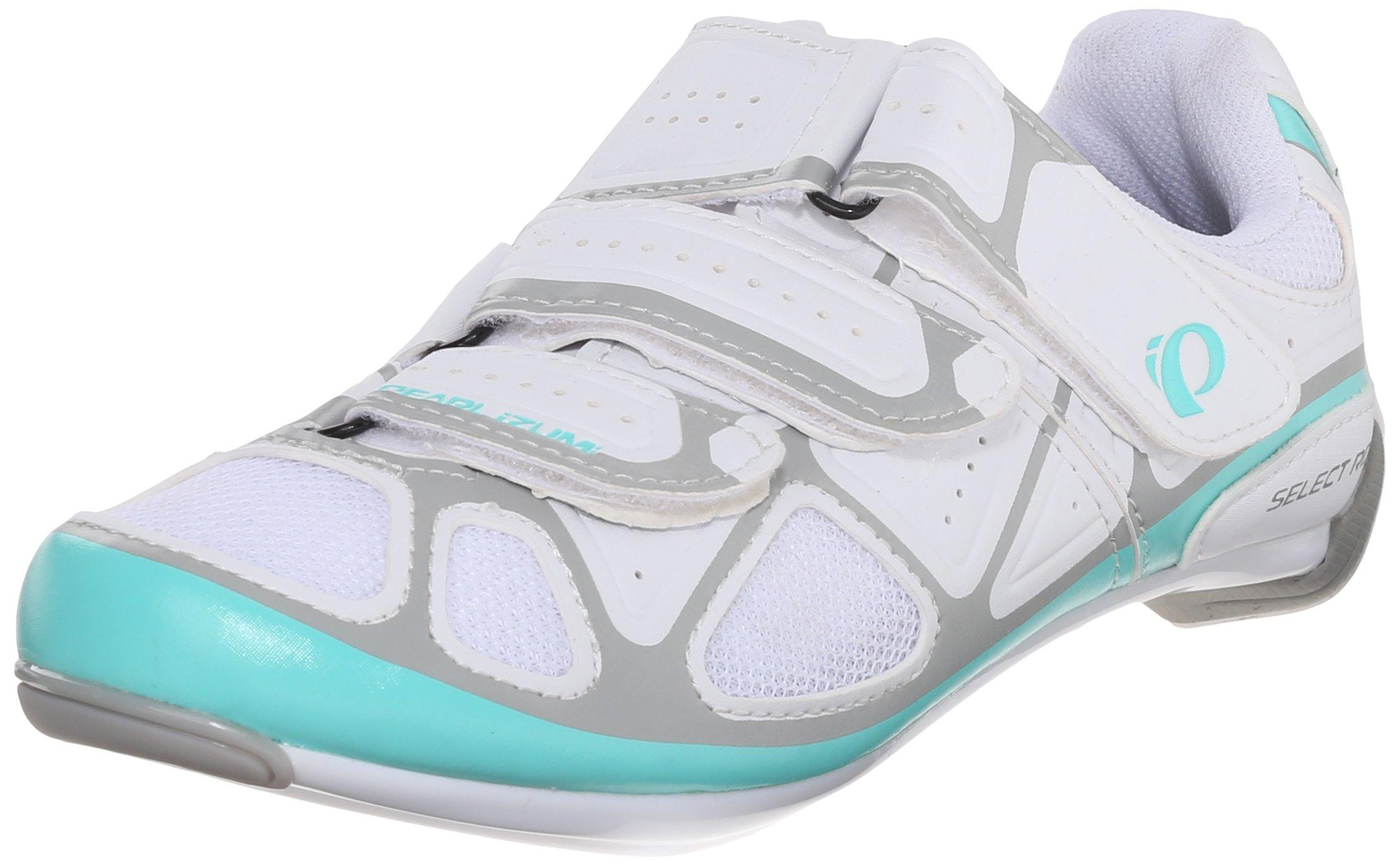 Pearl Izumi Women's W Select RD IV Cycling Shoe, White/Aqua Mint, 40 EU/8.3 B US