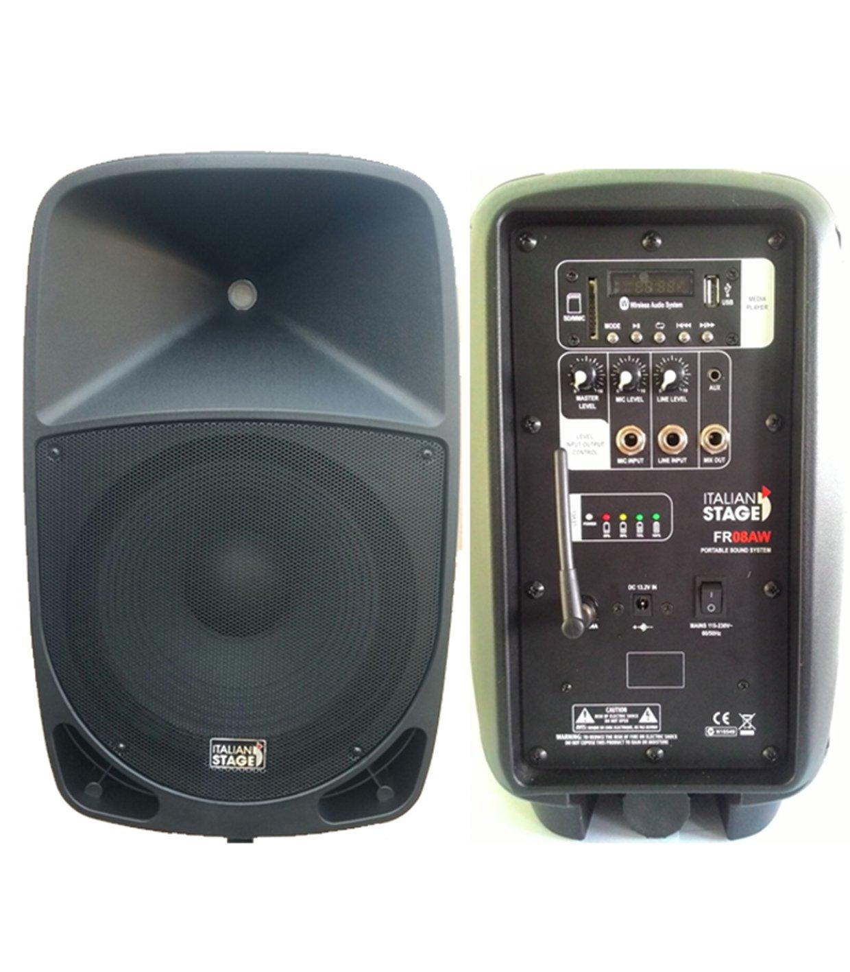Italian Stage fr08aw by Proel–Difusor Portátil Amplificado a batería, con MP3Player, SD Card, USB y Bluetooth