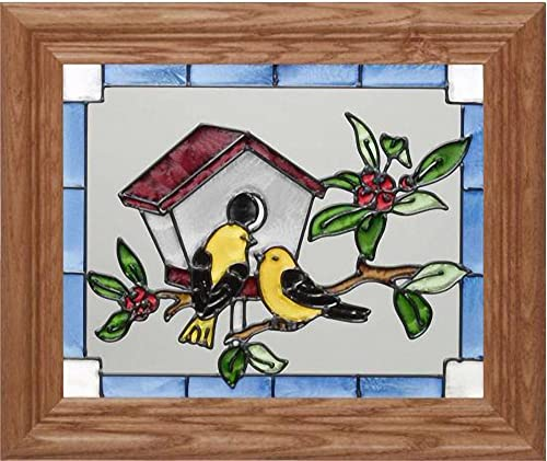 Keegan s Korner Goldfinches Horizontal Art Glass Panel with Wooden Frame 10 x 12