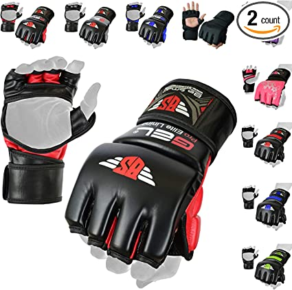 Black NEW Mixed Martial Arts Century® Leather MMA /& Bag Gloves UFC