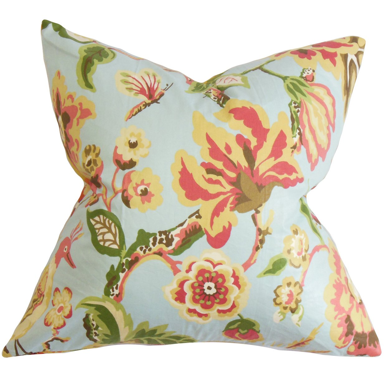 The枕コレクションp20-d-cevendish-lightblue-c95l Chayaフローラル枕、ライトブルー、20