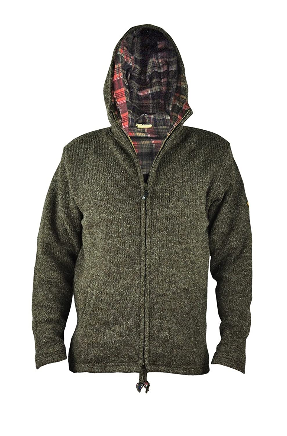 virblatt Men's lined wool jacket in sizes S, M, L, XL wool sweater Hoodie 100 % natural wool - Everest