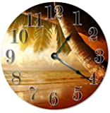 "PALM TREES CLOCK Large 10.5"" Wall Clock Decorative Round Wall Clock Home Decor Novelty Clock BEACH SUNSET SUNRISE"