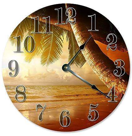 Amazon.com: Sugar Vine Art PALM TREES CLOCK Large 10.5\
