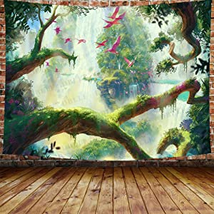 DBLLF Fantasy Forest Tapestry Nature Scenery Forest Waterfall Background Forest Fairy Tales Tapestries Psychedelic Forest Tapestry for Bedroom Living Room Dorm Home Decoration 80X60 Inches DBLS1282