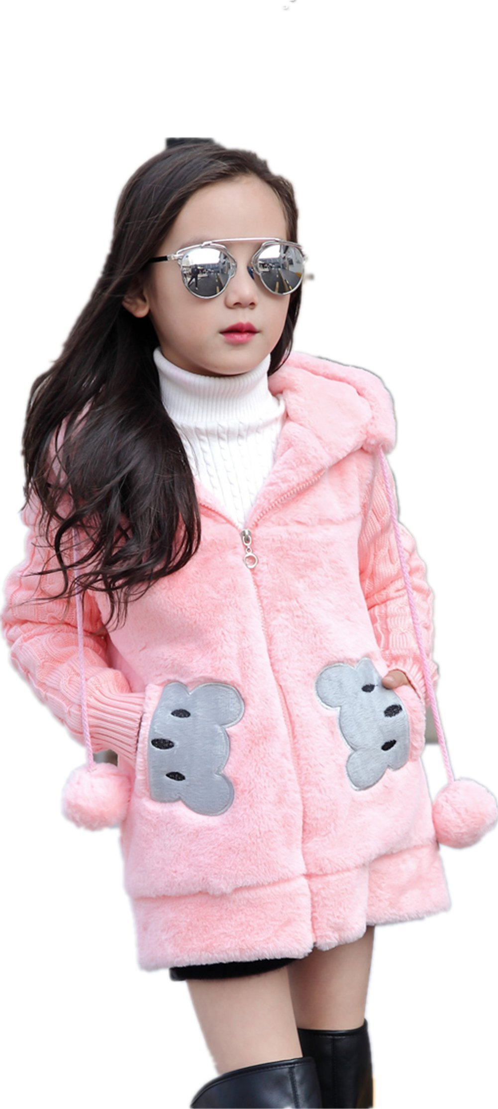 Face Dream Kids Girls Winter Warm Knited Fur Cartoon Coats Hooded Snowsuit Jackets Outerwear Pink, 4/5T by Face Dream