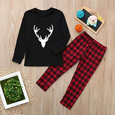 Amazon.com  GzxtLTX Family Christmas Matching Pajama Set with Baby Black  Reindeer Printed Plaid Sleepwear Nightwear  Clothing e19569cad