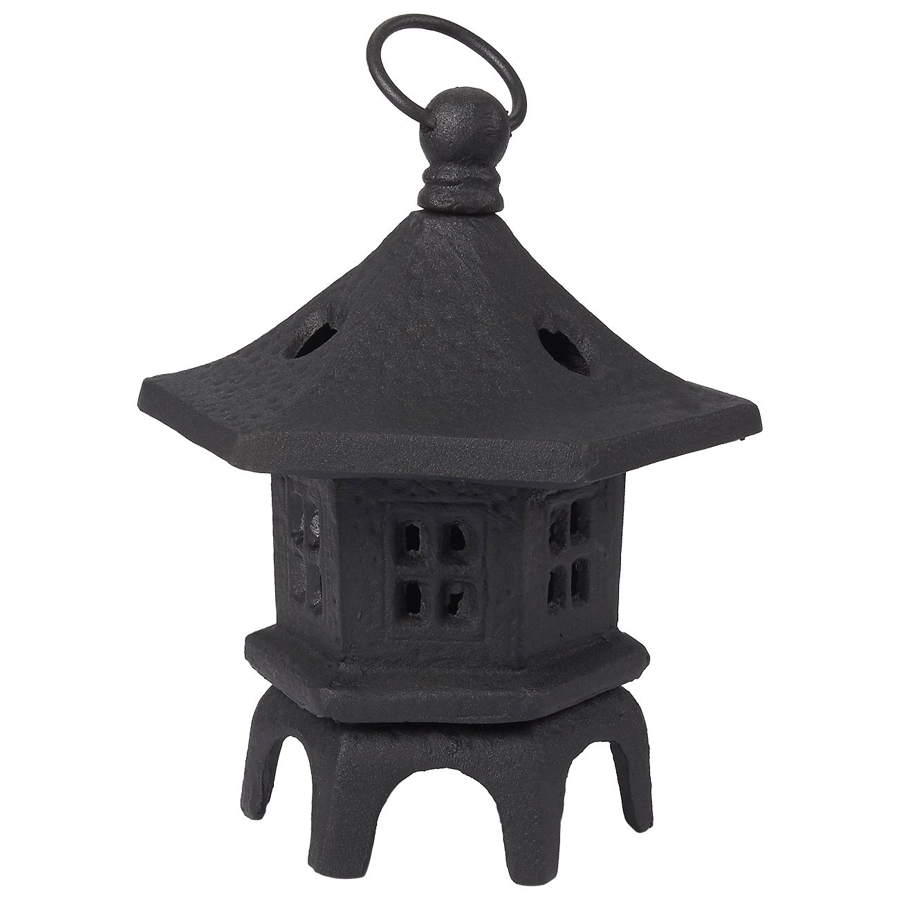 Juvale Rustic Iron Lantern Candle Holder, Vintage Hexagonal Candle Centerpiece, Tealight Candle Table Decoration for Living Room, Dining Area, and Garden, Charcoal, 5.9 x 5.9 x 7.3 inches