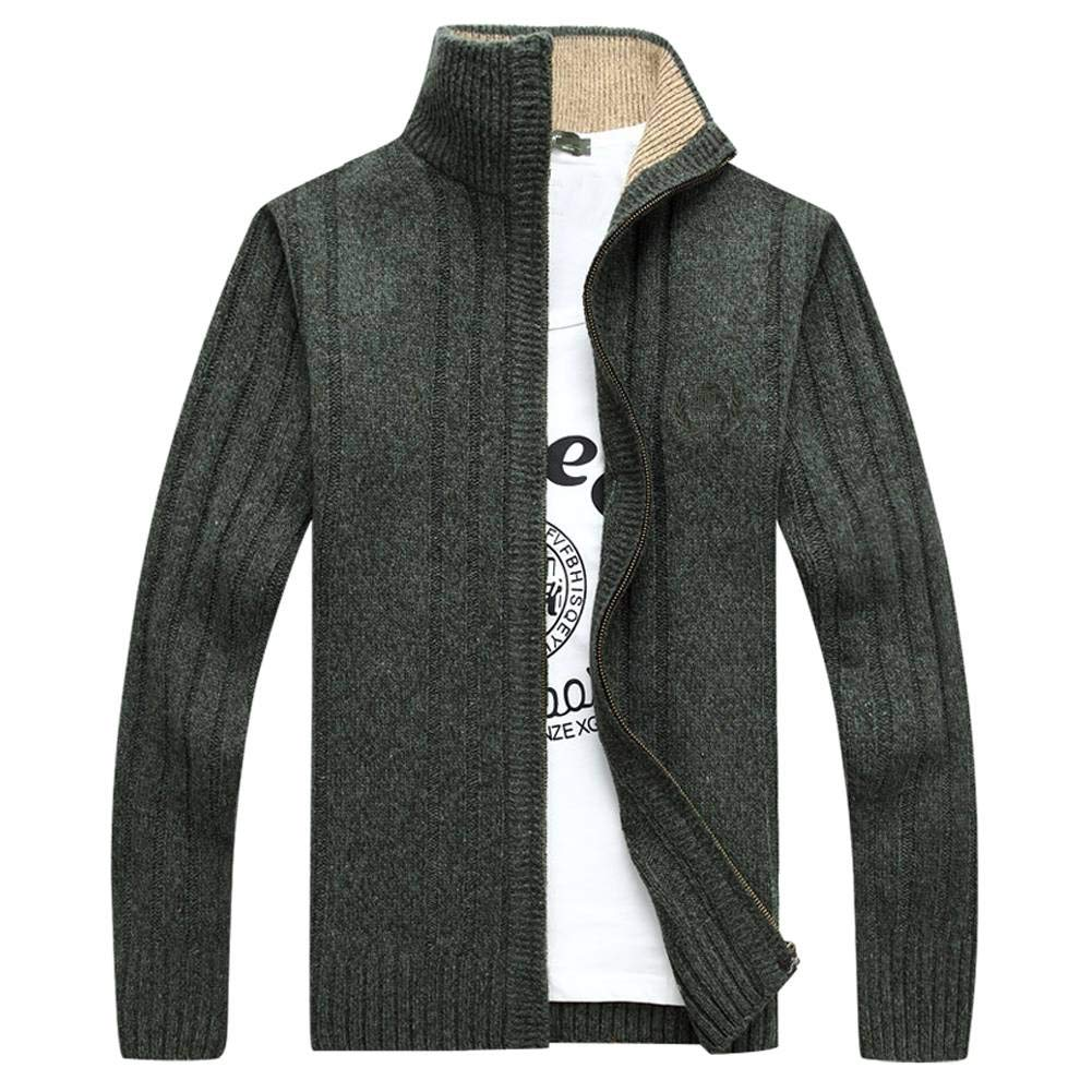 OCHENTA Men's Casual Zip-up Knitted Cardigan Sweater Green US Size L - Asian Size XL