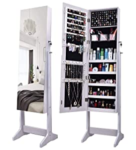 AOOU Jewelry Organizer Jewelry Armoire,Full Length Mirror Dressing Lockable Jewelry Cabinet, with Large Storage Capacity, 3 Angles Adjustable, White