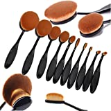 10PCS Oval Makeup Brush Toothbrush Set Professional Foundation Contour Concealer Blending Cosmetic Brushes