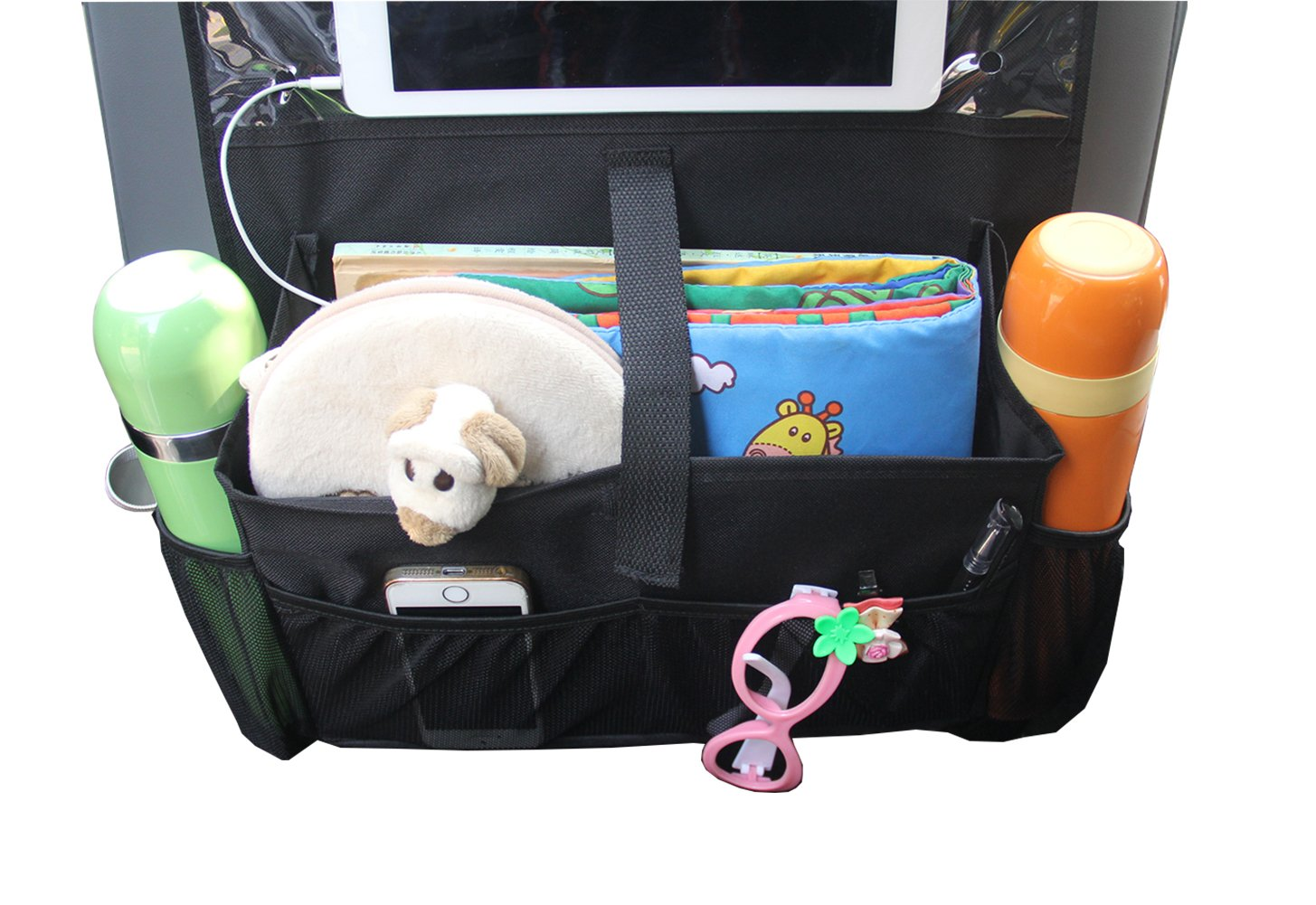 Black Pack 2 MISSLO Car backseat Organiser Kick Mats Waterproof Back Seat Protector Cover with iPad Tablet Touch Screen Holder for Kids