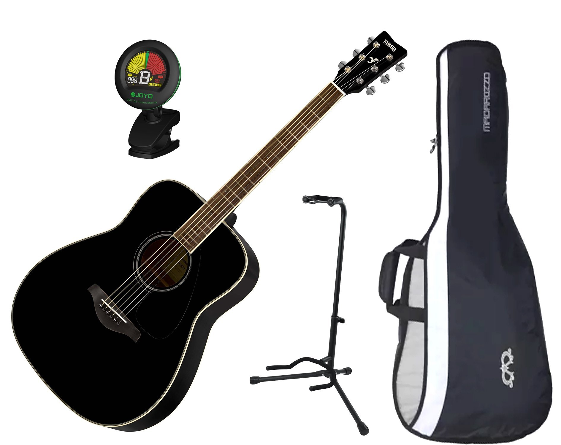 Yamaha FG820BL Solid Sitka Spruce Top Folk Acoustic Guitar Black w/ Gig Bag, Stand, and Tuner