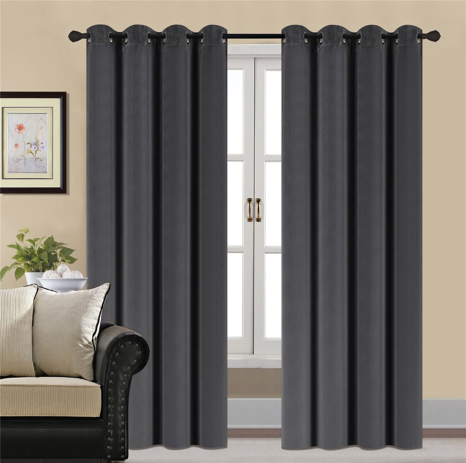 HCILY Velvet Blackout Curtains Thermal Insulated for Bedroom 2 Panels (W52'' x L84'', Dark Grey)