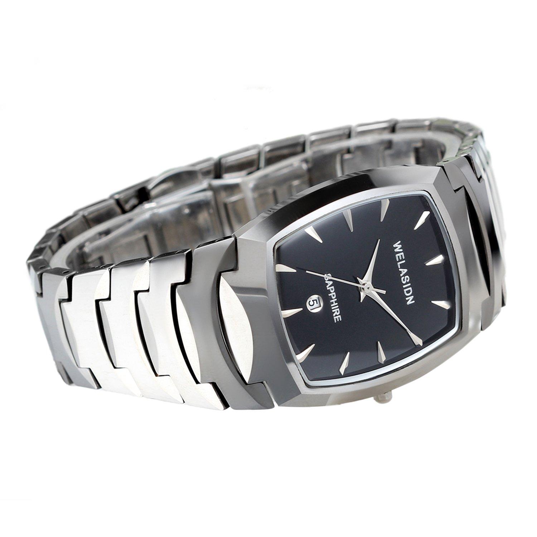 Amazon.com: Avaner Mens Luxury Tungsten Carbide Steel Wrist Watch Square Dial Analog Quartz Date Display Dress Watch (Silver): Watches