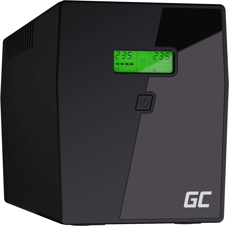 Green Cell® SAI Sistema de alimentación ininterrumpida UPS Potencia 1500VA (900W) 230V Fuente de alimentación Continua Line Interactive senoidal AVR USB/RJ45 4X Schuko Tomas con Pantalla LCD