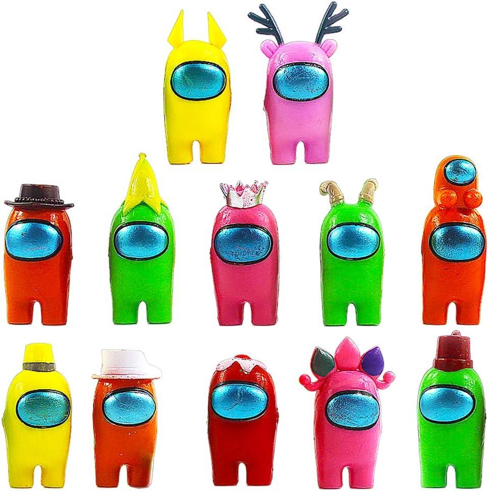 BESTZY Among Us Figuras en Miniatura 12PCS Among Us Figure Toy Entre Nosotros Juguetes Navidad DIY Figuras de Jardín Decoraciones Adornos de Mesa Escritorio Figuras de Juguete Lindas Colección