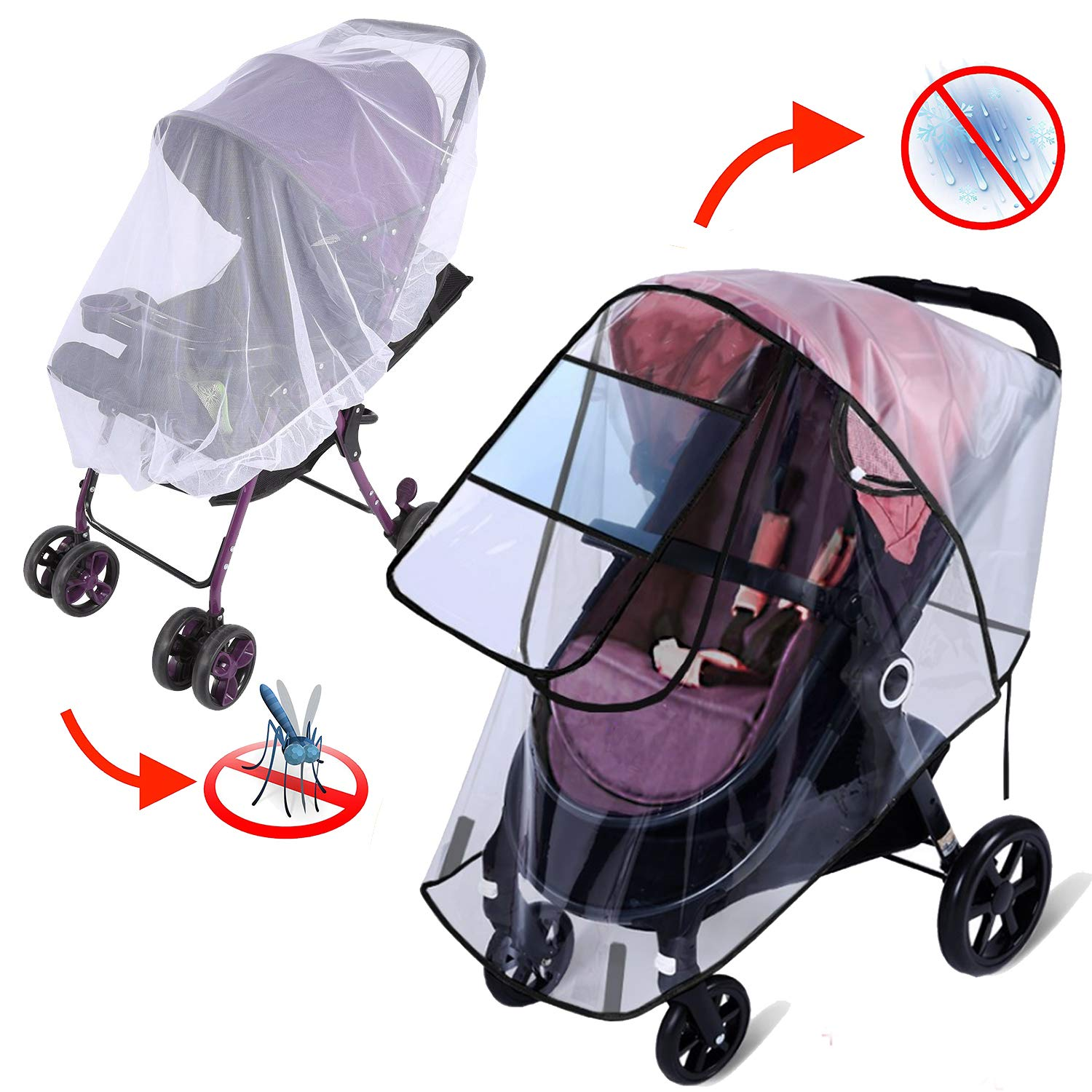 Rain Cover for Stroller - Mosquito Net(2-Piece Set), Apsung Universal Baby Travel Stroller Rain Cover Waterproof, Windproof Protection, Outdoor Use with Air Holes-Transparent
