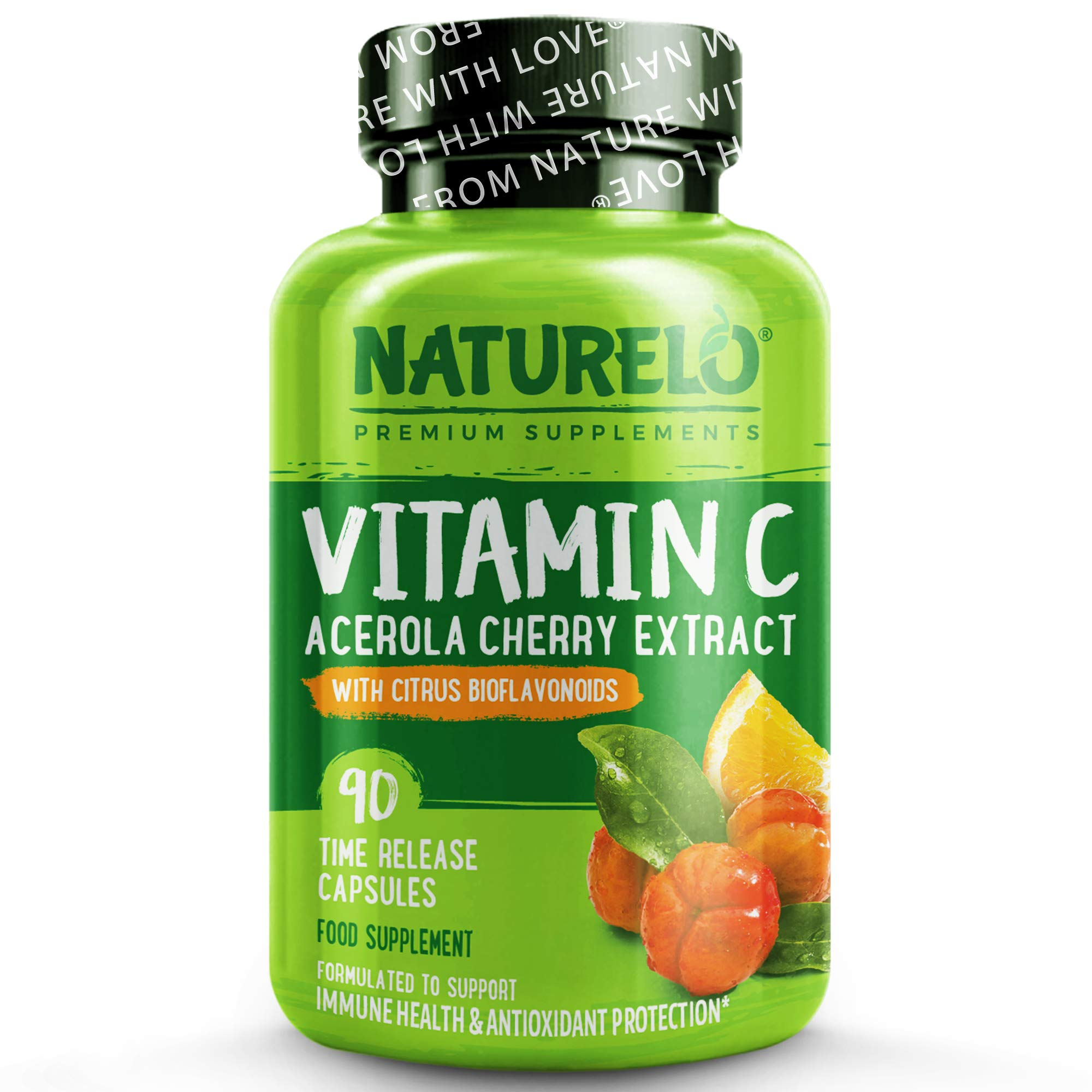 NATURELO Vitamin C - with Acerola Cherry Extract & Citrus Bioflavonoids - Helps Maintain Healthy Immunity - Non-GMO Whole Food Supplement - 500 mg - Slow Release - 90 Vegan Capsules | 3 Month Supply