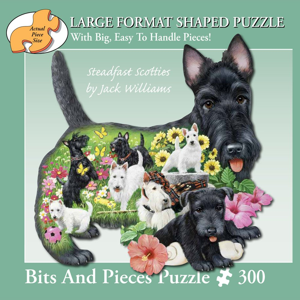 Bits and Pieces - 300 Piece Shaped Puzzle - Steadfast Scotties, Scotty Dog Puppies - by Artist Jack Williams - 300 pc Jigsaw