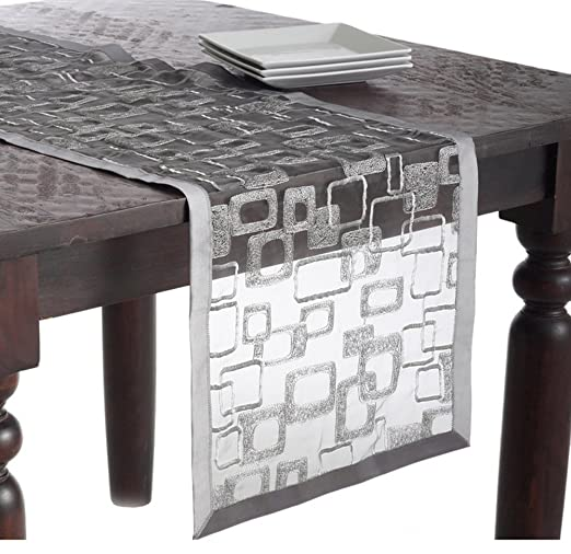 Christmas Tablescape Decor - Modern Silver Embroidered Mondrian Geometric Design Table Runner