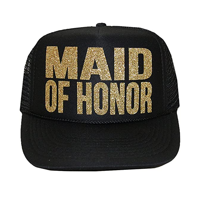 MAID OF HONOR Glitter Trucker Hat at Amazon Women s Clothing store  046bb148478