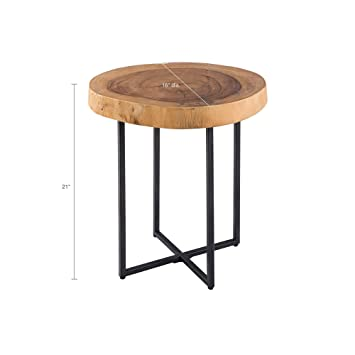 Fantastic Ink Ivy Arcadia Accent Tables Metal Wood Side Table Natural Matt Black Modern Style End Tables 1 Piece Authentic Wood Block Small Tables For Home Interior And Landscaping Eliaenasavecom