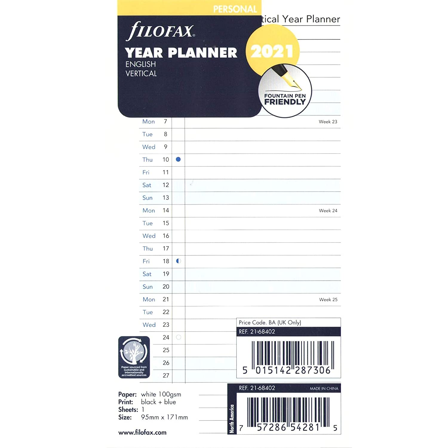Filofax Personal Year Planner Vertical English 2021