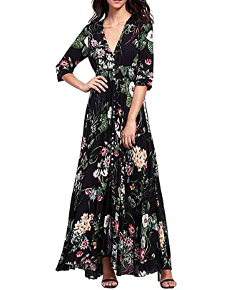 CharMma Womens Retro V-Neck Front Button Ethnic Print Slit Cocktail Party Dress (Small