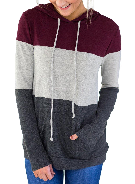 Lovezesent Women Red Color Block Long Sleeve Hoodie Sweatshirt with Kangaroo Pocket Casual Loose Drawstring Tunic Shirts Large
