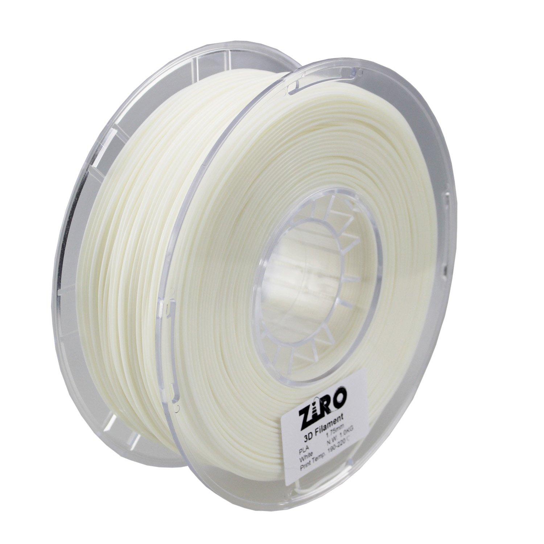 2.2lbs ZIRO 3D Printer Filament PLA 1.75 1KG Dimensional Accuracy +//- 0.05mm White