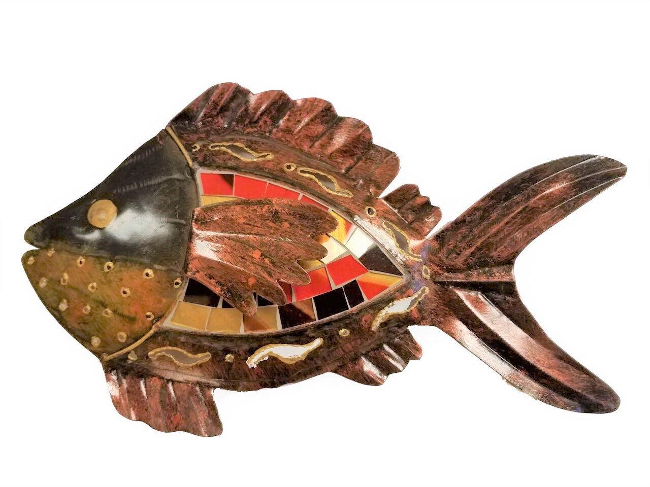hand-chiseled銅スタイルメタルアート壁装飾魚with Unique鮮やかなレッド/ゴールドモザイクガラスポインティング左 B079XVRTYQ