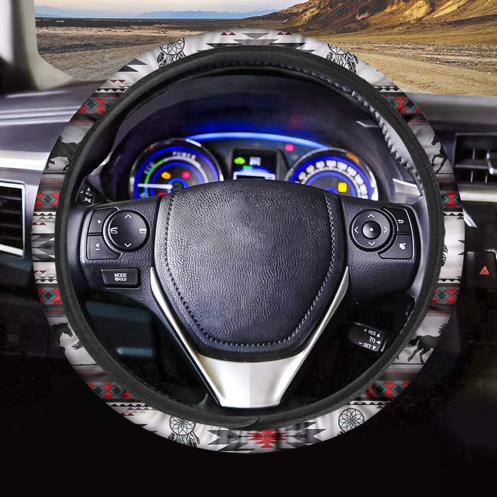 FKELYI Sugar Skull Printed Steering Wheel Cover Universal Fit Auto Interior Accessories Steering Cover for Women Girls