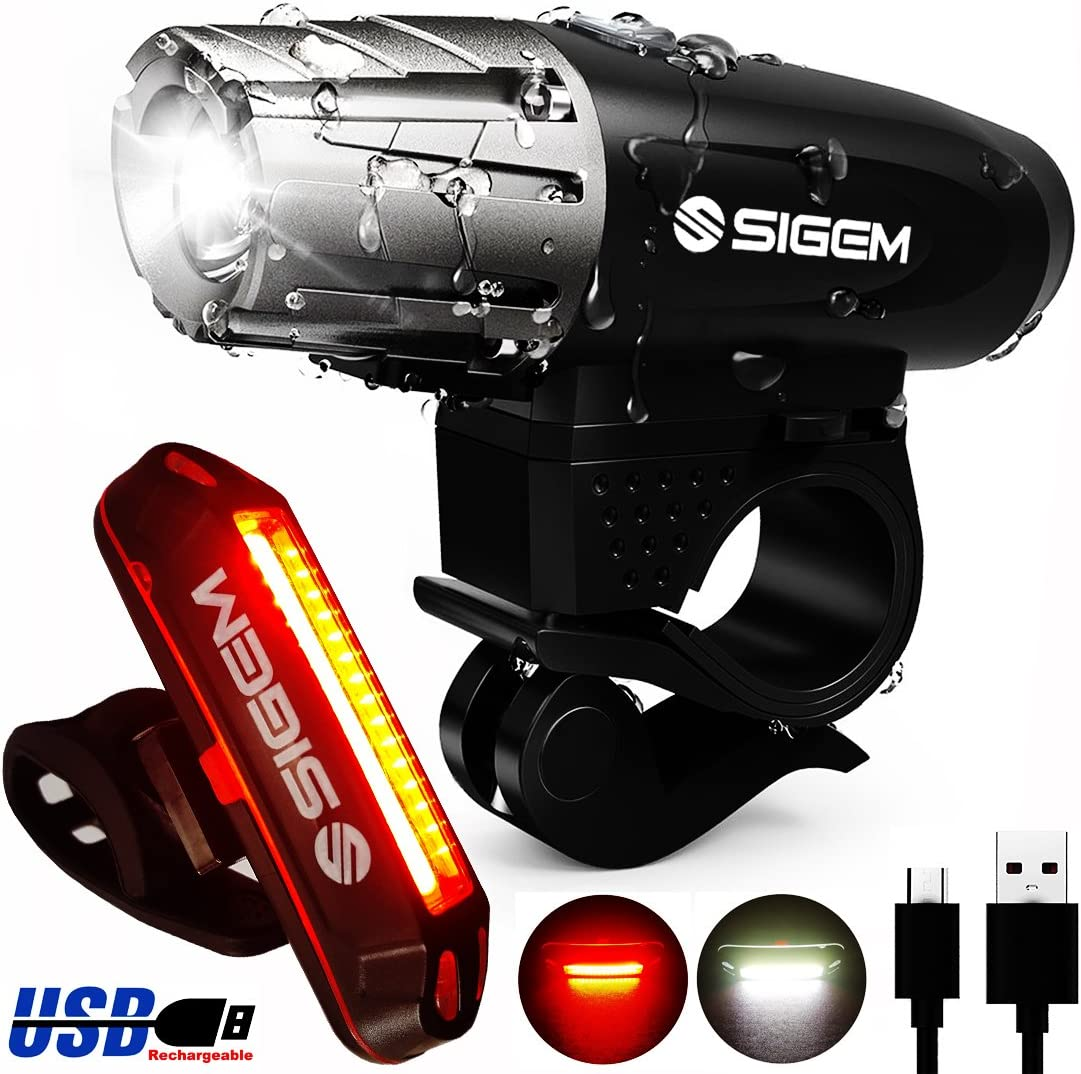 SIGEM Bike Light Set, Ultra Bright, USB Rechargeable, Premium LED Front Headlight and Rear Taillight. Both Bicycle Head Tail Lights are Waterproof, Easy to Install.