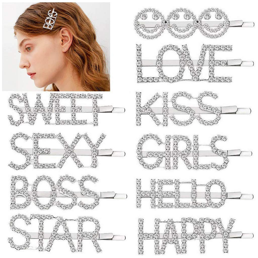 Women Rhinestone English Letter Barrettes Alloy Hair Clip Personality Hairpins