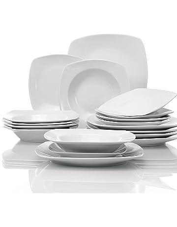 MALACASA, Série Julia, 18pcs Services de Table Complets Porcelaine, 6  Assiettes Creuse 6 90f33b00d669