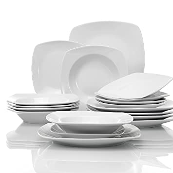 MALACASA, Série Julia, 18pcs Services de Table Complets Porcelaine, 6  Assiettes Creuse 6 120305097e7b