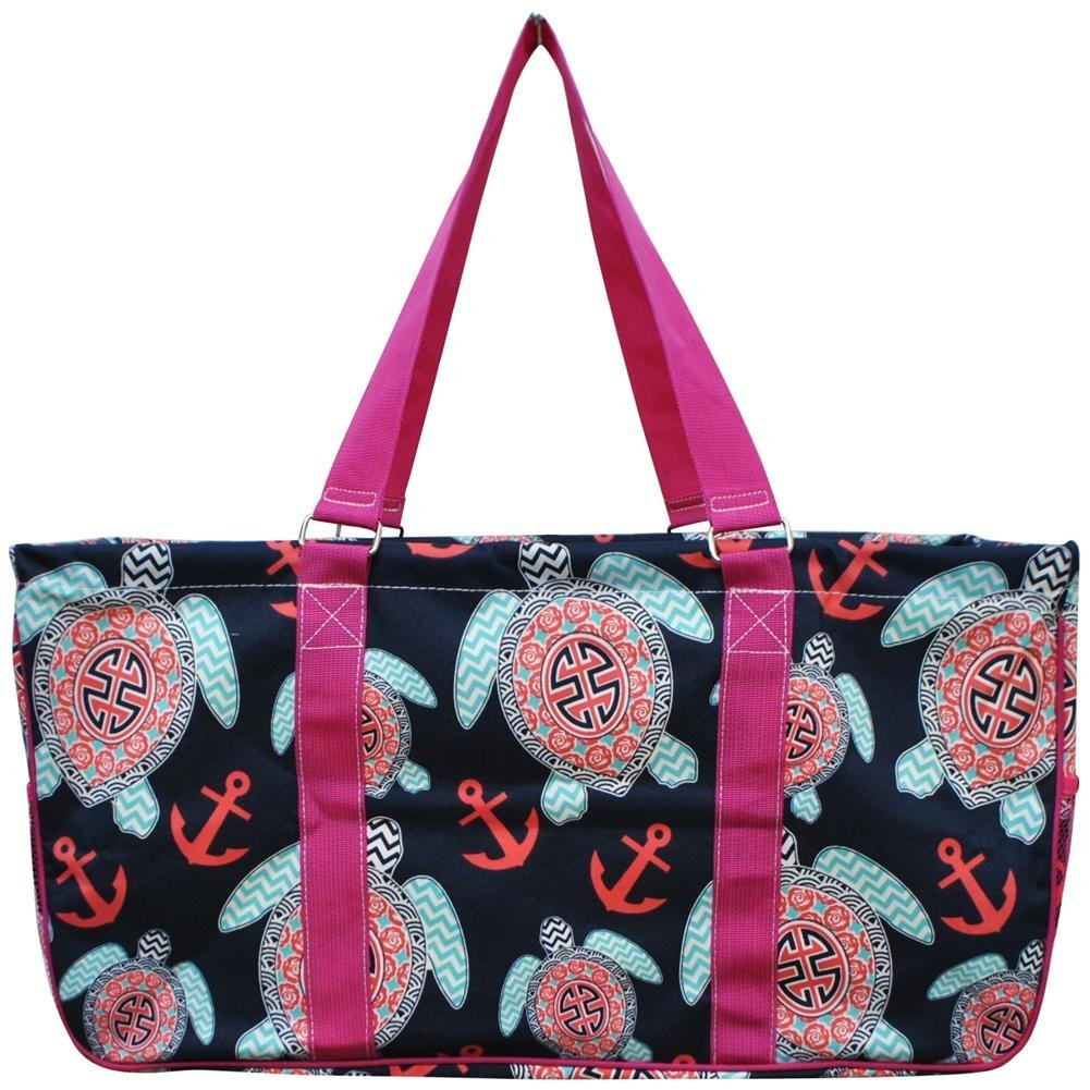 N. Gil All Purpose Open Top 23'' Classic Extra Large Utility Tote Bag 1 (Sea Turtle Hot Pink)