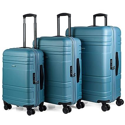 JASLEN - Juego de Maletas de Viaje Rígidas 4 Ruedas Trolley ABS. Resistentes Duraderas y Ligeras. Candado TSA. Pequeña Cabina Mediana y Grande XL ...
