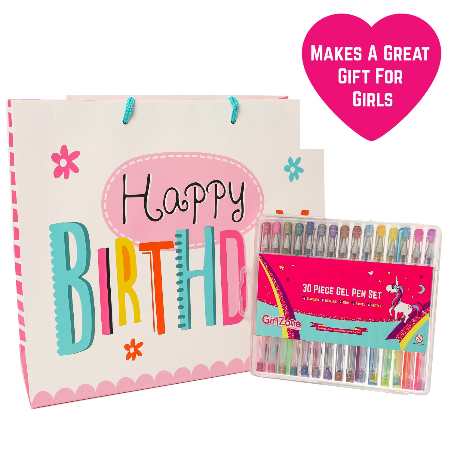 GirlZone: 30 Piece Gel Pens Set, Ideal Arts & Crafts Gift, Coloring ...