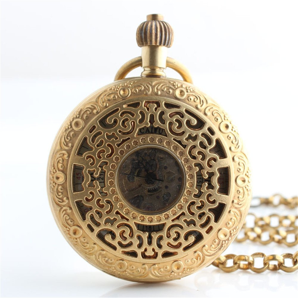 Shirleyle Creative Hollowed Retro Roman Numberal Mechanical Pocket Watch Golden Men's Business Pocket Watch With Chain